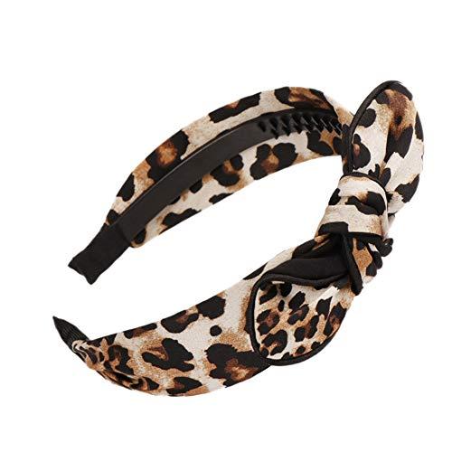 Homeofying Mode Imprimé léopard Bowknot Décor Bandeau Fille Femme Headwear Cheveux Créoles