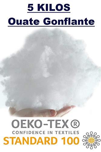 L22G 5 Kilos Ouate de Rembourrage Fibre Polyester Oeko-Tex, Fibre Synthétique Lavable - Sac de 5 kg pour Le Garnissage de Coussins, Jouets, Peluches