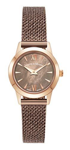 Jacques Du Manoir Mia Swiss Made 24mm Reloj esfera marrón MOP y caja marrón y pulsera milanesa