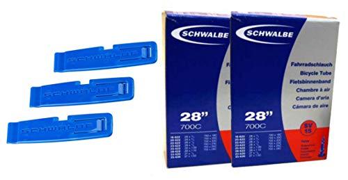 """SCHWALBE SV 15 Fahrradschlauch 2 Stück, 28"""" Rennrad + 3 Stück Schwalbe Reifenheber"""