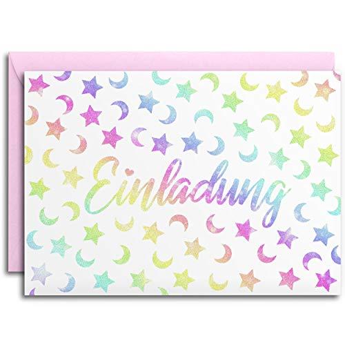 10x GLITZER Einladungskarten für Party & Kindergeburtstag mit pastell rosa Umschlägen | Regenbogen Mond Sterne | Mädchen & Jungen | Geburtstagseinladungen Einladungen Geburtstag Kinder bunt Glitter