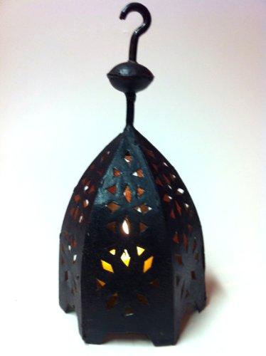 Oosterse lantaarn van metaal, zwart, Sliman, 22 cm groot, Marokkaanse tuinlantaarn voor buiten, binnen als tafellantaarn, Marokkaanse tuinwindlicht hangend of om neer te zetten