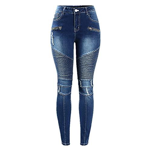 N\P Pantalones vaqueros ajustados para mujer con cremallera y cintura alta para motociclistas, para mujer