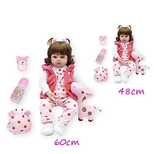 Danping Neu 48/60CM Reborn Kleinkind Prinzessin Mädchen Puppen Mit Einem Giraffen Spielzeug (60cm,1)
