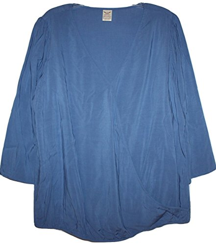 Faded Glory Women's Plus Size 100% Rayon Crossover Surplice Blouse with Elastic Hem and 3/4 Sleeves (Bellflower Blue, 3X 22W-24W)