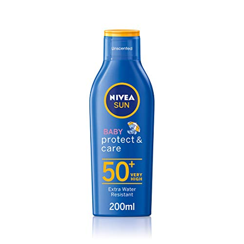 NIVEA SUN Baby Suncream Lotion SPF 50+ Protect & Moisture (200ml), Suncream for Very Delicate Skin with SPF50, Moisturising and Protective Sunscreen for Kids