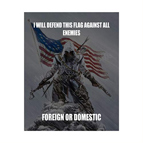 'I Will Defend This Flag Against All Enemies'-Patriotic Quotes Wall Art- 8 x 10' Pro-American Poster Print-Ready To Frame. Perfect for Home-Office-Garage-Bar Decor. Display Your American Pride!