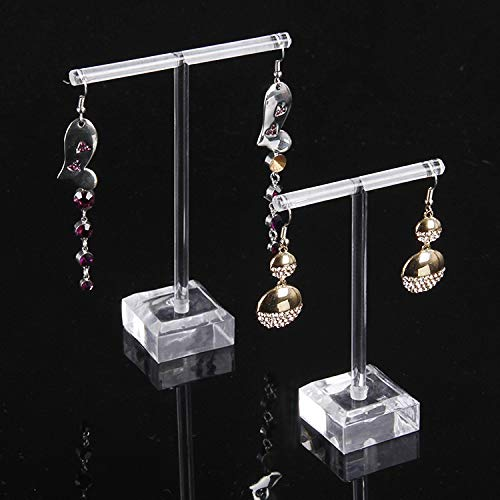 LianHongTouZiGuanLi Jewellery Clear Acrylic Earrings Jewelry Display Rack Stand Organizer Holder Case Necklace Bouches Ornament Hanger T-Bar 2pcs/set (Color : Transparent)