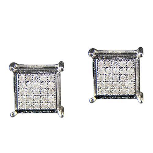 Pendientes de botón de plata de ley chapados en oro blanco de 7 MM de plata esterlina de diamante para hombres y mujeres