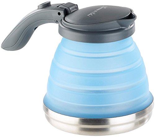Rosenstein & Söhne Faltbarer Wasserkessel: Faltbarer Silikon-Camping-Wasserkessel mit Edelstahlboden, 800 ml (Silikon Wasserkocher)