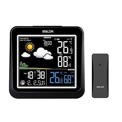 FLYLAND Wetterstation Funk mit Außensensor,Funk Wetterstation mit Farbdisplay Digital Wettervorhersage Barometer Mondphasen Wecker Uhrzeit und Hintergrundbeleuchtung für innen und außen