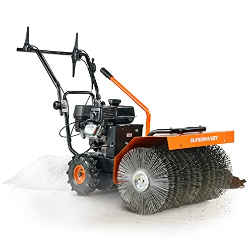 SuperHandy Snow Power Sweeper Leaf Dirt Debris Brush Broom 23.5' Inch Clearing Path All Season Walk Behind Gas Powered 7HP Engine EPA CARB Approved
