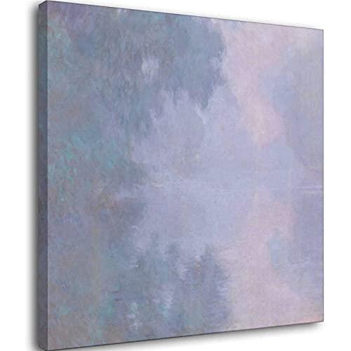 Claude Monnai-Morning on the Seine, Quadro decorativo su tela da parete per soggiorno, camera da letto, pittura Unframe-style1 70 x 70 cm
