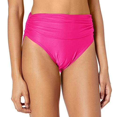 Carmen Marc Valvo Women's Bikini Bottom Swimsuit with Shirred Detail, RIV Rose, X-Small/2-4