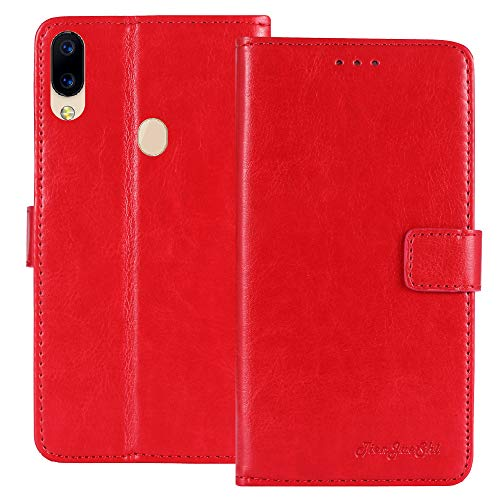 TienJueShi Rot Retro TPU Silikon Flip Book Stand Brief Leder Tasche Schütz Hülle Handy Hülle Für Archos Oxygen 63 6.26 inch Abdeckung Wallet Cover Etui