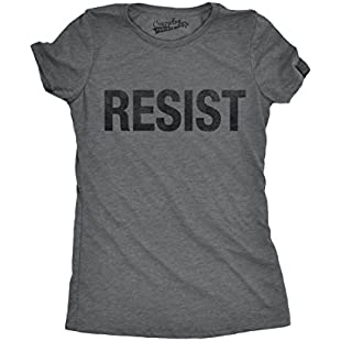 Womens Resist Tee United States of America Protest Rebel Political T Shirt (Grey) XXL