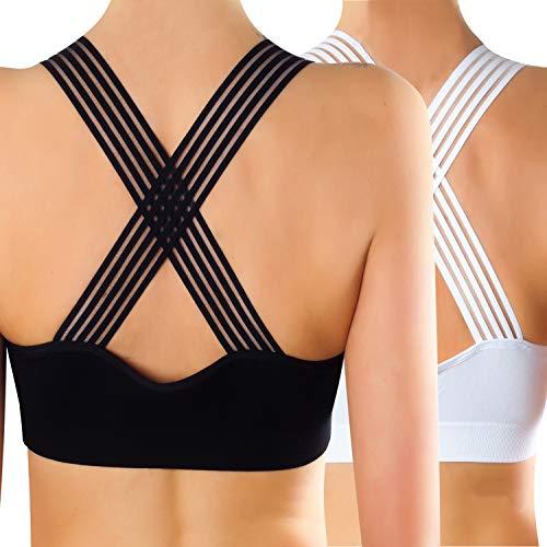 Libella 2er Pack Damen Sport BH Gepolstert Push UP Mesh Seamless Ohne Bügel Freizeit Yoga Fitness Comfort und Schlafen BH 3773 Schwarz+Weiß L/XL