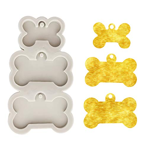 Bone Shape Handmade Keychain Silicone Mold with Hole for Dog Birthday DIY Cupcake Ice Cube Candy Fondant Mold Jelly Shots Handmade Ice Cream Pudding Desserts Crystal Gum Paste Soap Mould, Grey