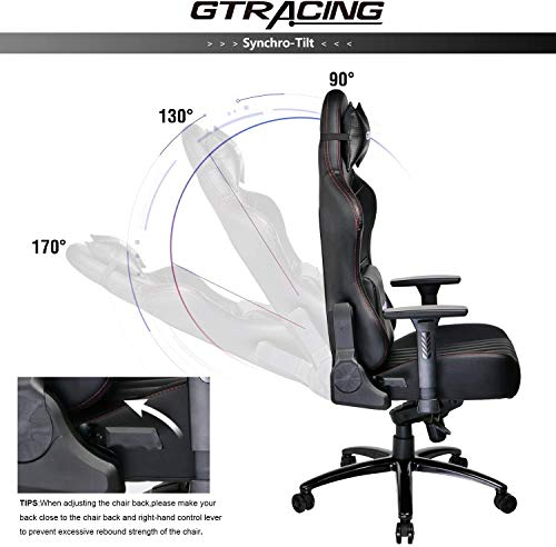 GTRACING Big and Tall Gaming Chair High Back Leather Carbon Fiber Memory Foam Computer Chair Adjustable Tilt Upgrade Mechanism 4D Armrests Ergonomic Racing Executive Office Chair Metal Base Black