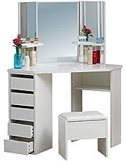 OFCASA Vitt sminkbord med spegel och pall, sminkbordsset, sminkförvaring, sovrum, omklädningsrum, möbler
