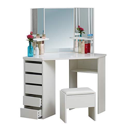 OFCASA - Tocador con 3 espejos, mesa de maquillaje con espejo y 1 taburete, 5 cajones, 3 estantes, tocador de maquillaje de ángulo 114 x 61 x 140 cm