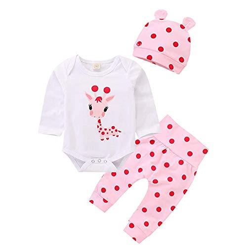 Neugeborene Mädchen Kleidung Cartoon Giraffe Print Tops Gefleckte Hosen Hut Outfits Kleidung