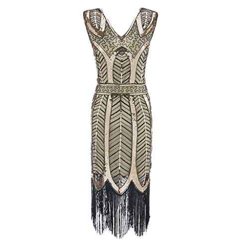Women's Flapper Dresses, QueenMM。◕‿◕。1920s Vintage Flapper Fringe Beaded Great Gatsby Cocktail Party Dress