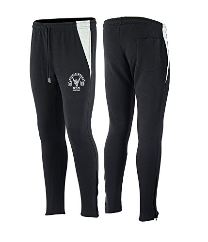 Muscle Gym Supreme Fleece Bottoms - Zwart/Grijs Slim Fit Training Bottoms Joggingbroek