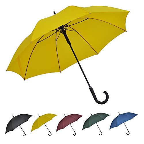 SoulRain 超強風抵抗 130 cm長傘Jハンドルクラシック紳士傘大きいステッキ傘 自動開特大ゴルフ傘 丈夫強風豪雨対策ステッキ傘男性と女性用晴雨兼用傘 (黄色)