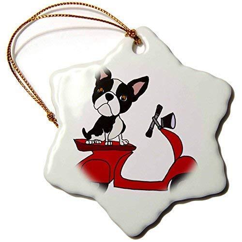 Dant454ty Boston Terrier Hond Rijden Rode Motor Scooter Art Kerst Ornamenten voor het Huis 2019 voor Vrouwen Vrienden Kids Kerstboom Ornament