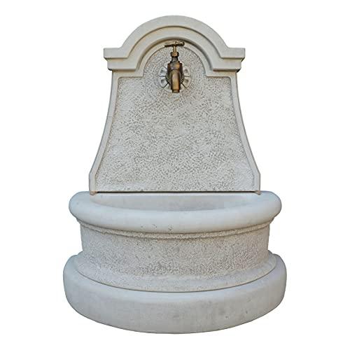 STONE art & more Fuente de pared Arezzo con grifo de latón de alta calidad, 80 cm de altura, fundición de mármol y piedra fundida, fabricada en Italia, 100% resistente a las heladas.