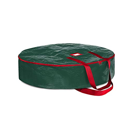 ZOBER Wreath Storage Container 30' - Water Resistant Fabric Storage Dual Zippered Bag for Holiday Artificial Christmas Wreaths, 2 Stitch-Reinforced Canvas Handles, Card Slot for Labeling