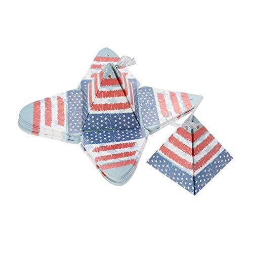 Amosfun 25PCS Onafhankelijkheid dag snoepdozen driehoek piramide america vlag geschenkdozen juli partij levert chocolade dozen