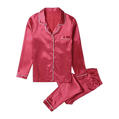 Xsylife Conjunto de pijama de satén de seda para mujer de dos piezas, ropa de dormir de manga larga, ropa de dormir para el hogar