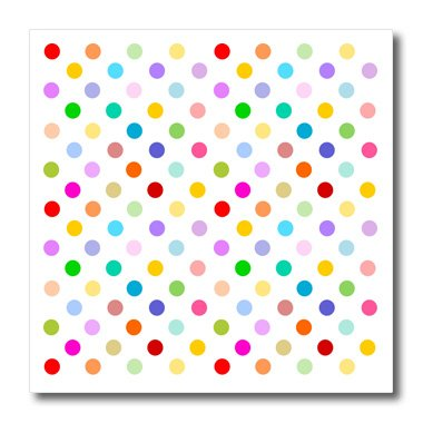 "3dRose Rainbow Multicolored Polka Dots on White-Colorful Cute and Girly Pattern-Iron on Heat Transfer, 8 by 8"", for White Material (ht_56681_1)"