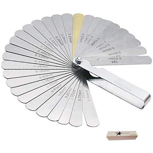 Set spessimetro a lamine, con 32 lamine e indicazione di misurazione doppia (sistema metrico e imperiale).32 Spessimetri Acciaio Spessimetri Metrica Spessimetro Doppio