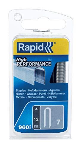 Rapid, 40109523, Agrafes en Fil plat N°7, Longueur 12 mm, 960 Pièces, Pour la fixation de Câble, Fil galvanisé, Haute performance Gris