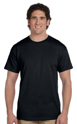 Fruit of the Loom mens 5 oz. 100% Heavy Cotton HD T-Shirt(3931)-BLACK-L-6PK