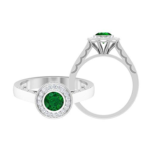 5,00 MM Solitär Smaragdring, HI-SI Diamant-Halo-Verlobungsring, Goldener Lünetten-Satz Ring (AAA-Qualität), 14K Weißes Gold, Smaragd, Size:EU 67