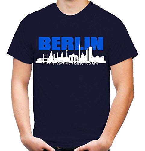 Berlin Skyline Männer und Herren T-Shirt | Fussball Ultras Geschenk | M1 (XL, Navy)