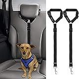 BWOGUE 2 paquetes de correas para cinturón de seguridad para el reposacabezas del coche ajustable de tela de nailon para perros y gatos