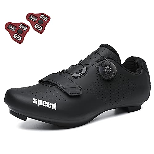 GENAI Men Road Bike Shoes Women Cycling Shoes Included Cleats(Combination Set) Compatible with Look SPD/SPD-SL for Outdoor/Indoor Cycling Exercise Shoes All Black