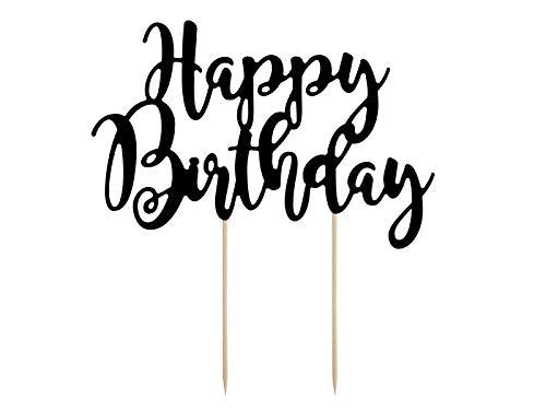 DaLoKu Cake Topper Kuchendekoration Tortenfigur Hochzeit Geburtstag Silvester, Größe: Happy Birthday schwarz