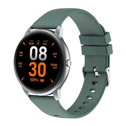 YAMAY Smart Watch for Women Men,Round HD Screen Fitness Watch with 13 Workouts Mode,Personalised Watch Face by APP, Activity Trackers,Fitness Trackers With Heart Rate Monitor,Call SMS/SNS Notification