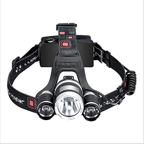 SONG Tead Torch Ensembles, Headlamp Rechargeable & 2pcs 18650 Batterie Rechargeable et Chargeur de li-ION 3.7V, phares pour la Course, Le Camping, la pêche, Le Cyclisme, la randonnée