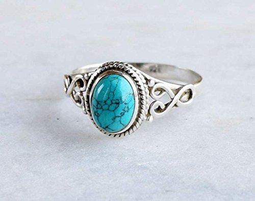 Turquoise Ring - 925 Sterling Silver Stone Ring For Girl Women Gift Ring Jewelery All Size L M N O P Q R S T U V W X Y Z