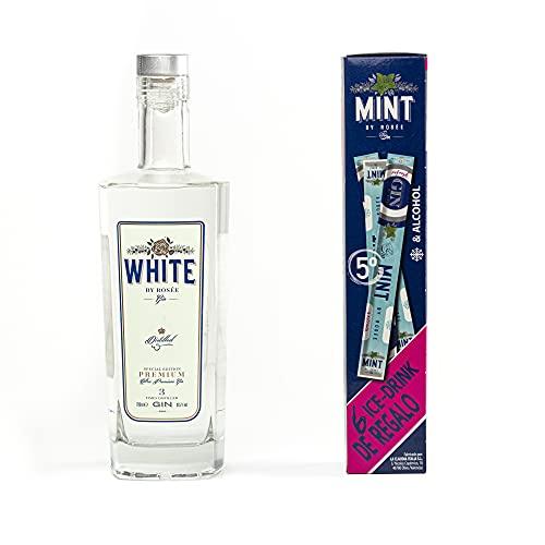 White by rosée Gin White By Rosee | Gin White Premium 700Ml + 6 Flases Hielo 65Ml | Ginebra Premium Triple Destilación | 37,5°%Vol - 1090 ml
