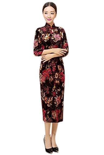 YL Damen Chinesisch Schlüsselloch Etuikleid Cheongsam Qipao mit Blumen 3/4 Sleeve Weinrot (36—TagM)