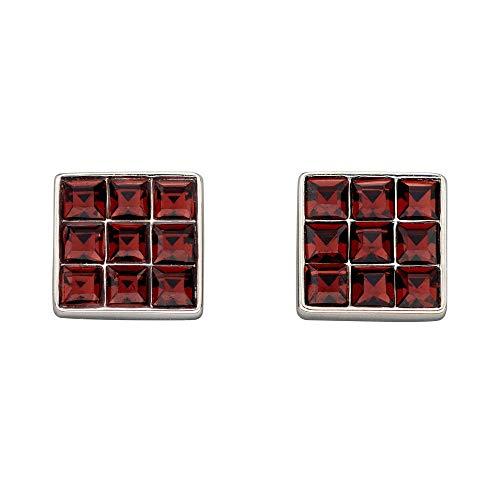 Fiorelli Silver Pendientes cuadrados de cristal de Borgoña corte princesa E5886R
