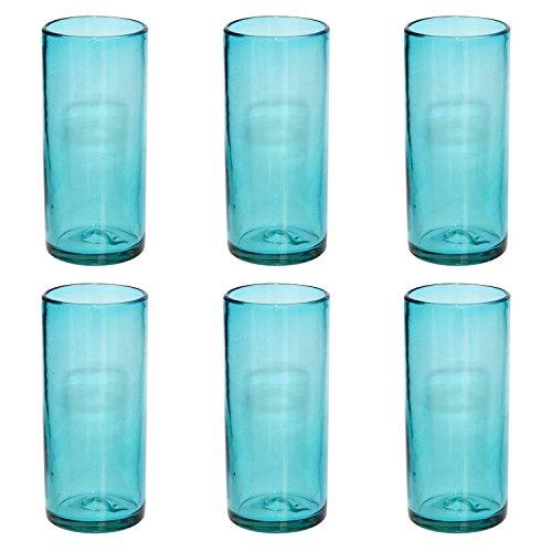 Verre à Cocktail artisanal – Verre recyclé – Turquoise - Par 6 pièces